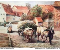 Marienstr Allerheiligenstr Aquarell - v. Josef Brunner