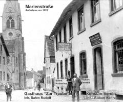 Marienstr um 1928 Gaststätte Zur Traube Konsum-Verein